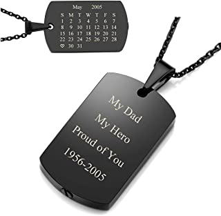 Free Engraving Custom Special Date Calendar Military Army Dog Tag Pendant Urn Necklace/Keychain for Ashes Memorial Keepsake Cremation Jewelry with Funnel Filler Kit