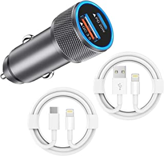 Curvologys iPhone Car Charger, 20W USB C 2 Port Fast Cigarette Lighter Adapter with 2x3ft PD & QC 3.0 Lightning Cable [ Ap...