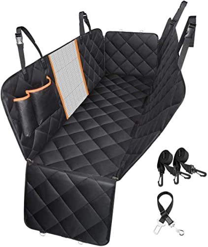 Dog Car Seat Cover Waterproof Pet Seat Cover Dog Car Hammock with Visible Mesh Window & Dog Car Seat Belt, Non Slip D...