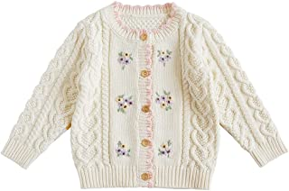 Knitted Baby Girls Cardigan Sweater Toddler Knit Crochet Button Closure Cardigan Top Outwear
