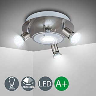 4 Way Round Plate LED Ceiling Spotlight for Bedroom Living Room Adjustable Ceiling Kitchen Lights Fitting 4 x 3W Warm White GU10 Bulbs