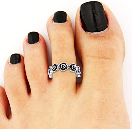 Glamza Sterling 925 Silver Toe Ring Finger Band Planted Jewellery Gift Adjustable Solid