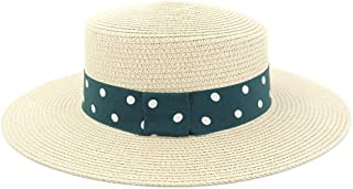 SHENTIANWEI Summer Straw Sun Hat Outdoor Women Travel Seaside Holiday Beach Hat Sunscreen Green Cloth with White Wave Point Sunhat