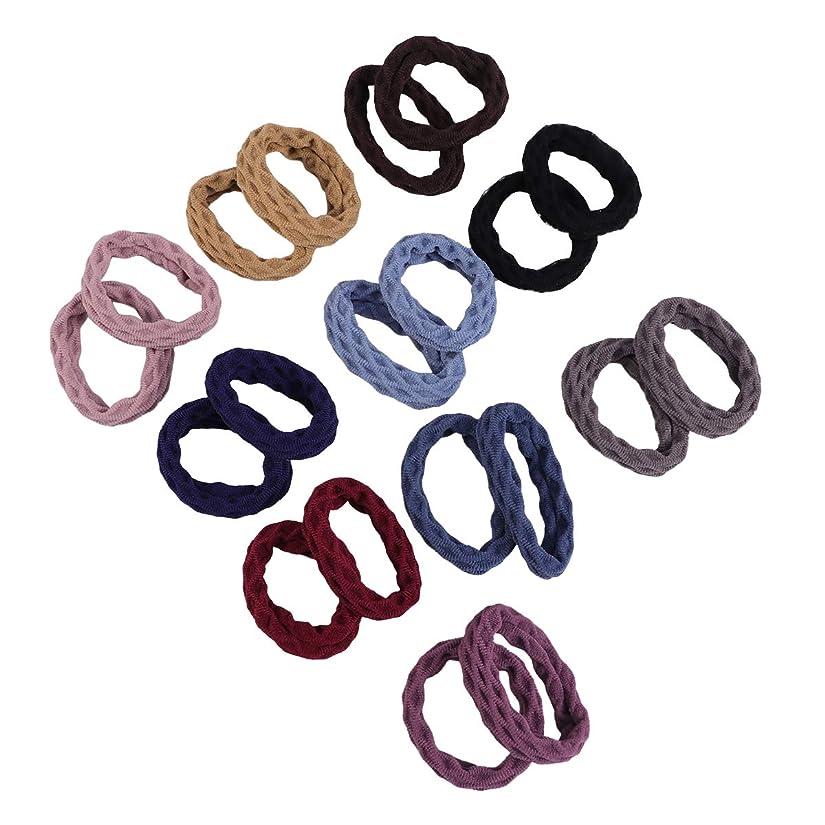 ラベグラム制限するLURROSE 20個入りのエラスティックヘアバンドは、女性の太いヘビーまたは巻き毛のためのヘアバンドと収納ボックス付き