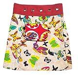SUNSA Mädchen Rock Jeansrock Minirock Wickelrock Wenderock Sommerrock Mädchenrock aus Baumwolle, 2 optisch verschiedene Röcke mit einem abnehmbaren Täschchen, Größe ist variabel verstellbar
