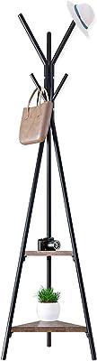 AKOZLIN コートハンガー 分岐形状コートラック ポールハンガー フック6本 二段棚付き 二層三角MDFボード 幅50×高さ179cm 衣類収納 衣類掛け 防錆能力 北欧風 省スペース 洋服帽子掛け 物置き 組み立て簡単 ブラック