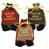 Gift Boutique Christmas Bag of Coal in a Drawstring Bag You've Been Naughty for Holiday Santa Stocking Stuffer, Pack of 3 Lump of Coals