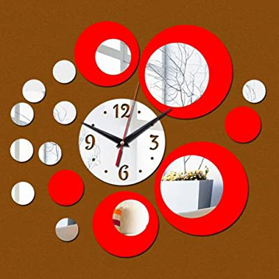 Dsstyle Creative Style Multi-circles Acrylic Round Wall Clock for Home Wall Decoration DIY Art