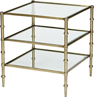 Tiered Square Glass Occasional Accent Table in Antique Brass Finish