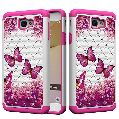 xifanzi - Carcasa para Samsung Galaxy S8 con Purpurina, policarbonato, Mariposa roja Rosa, Samsung Galaxy J7 Prime (5.5')