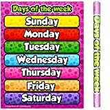 School Smarts Laminated Days of the Week Wall Poster for Preschool Kids, Large Durable Display of Weekday Names for Use in Homeschool or Classroom Settings, 17' X 22'