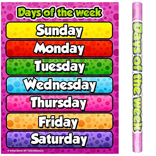 """School Smarts Laminated Days of the Week Wall Poster for Preschool Kids, Large Durable Display of Weekday Names for Use in Homeschool or Classroom Settings, 17"""" X 22"""""""