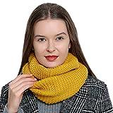 Bufanda de lana de invierno tipo cuello suave y cálida para mujer con diseño de punto - Amarillo