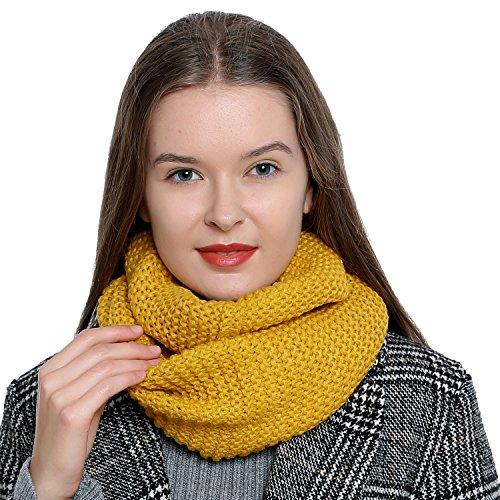 DonDon Warmer und weicher Damen Winter Schlauchschal Rundschal Strickmuster gelb