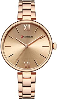 Curren 9017 Quartz Movement Round Dial Stainless Steel Strap Waterproof Women Wristwatch - Black