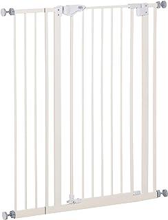 Pawhut Türschutzgitter Breite einstellbar Absperrgitter mit Doppelter Verschluss Hunde Absperrgitter Schutzgitter für Haustier Hundegitter Auto-Close Metall Kunststoff Weiß 86 x 104,1 cm