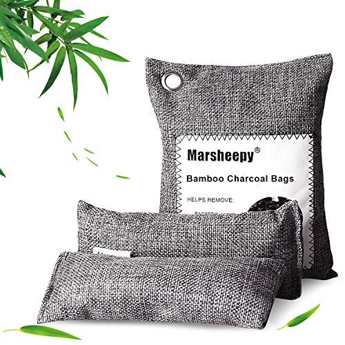 Marsheepy 3 Pack Activated Bamboo Charcoal Purfying Bags, Charcoal Odor Absorber, Odor Eliminators for Home, Pets, Car, Closet (200g and 60 gX 2 Pack)