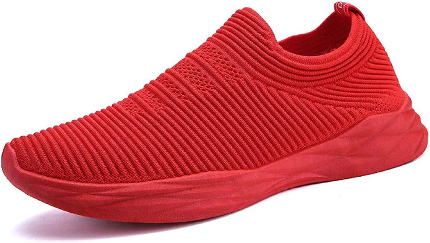 WDDGPZYDX Slip On Breathable Red Casual shoes Men Professional Stretch Loafers Men One Piece Designer Fly Weave Sneakers Men