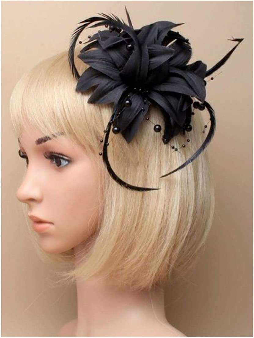 Rimi Hanger Womens Fabric Flower Fascinator On A Forked Clip and Brooch Pin Hair Accessory Black One Size