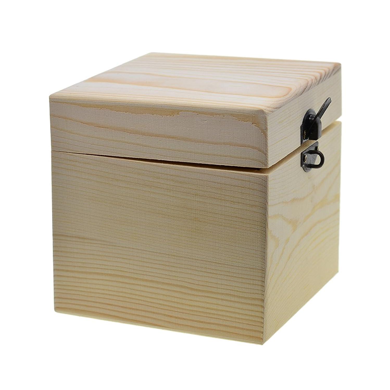 Prettyia 木製ボックス 正方形 ヒンジ付き 木箱 収納用 アクセサリー