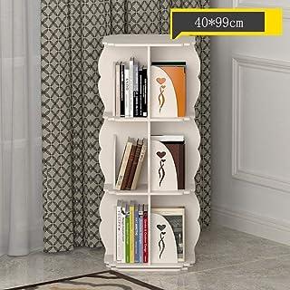 DALUXE estantería de Pared rotación de 360 Grados de la Pantalla de Almacenamiento DVDs, Libros, Juguetes (Color, Blanco, tamaño, 5 Niveles),Blanco,3-Tier