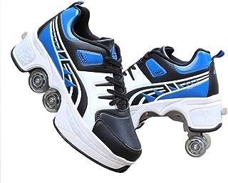 Roller Skate Sneakers, Walk & Skates Deform Wheel Skates, Four-Wheel, Dual-Purpose Roller Skates for Adult Men Women Unisex