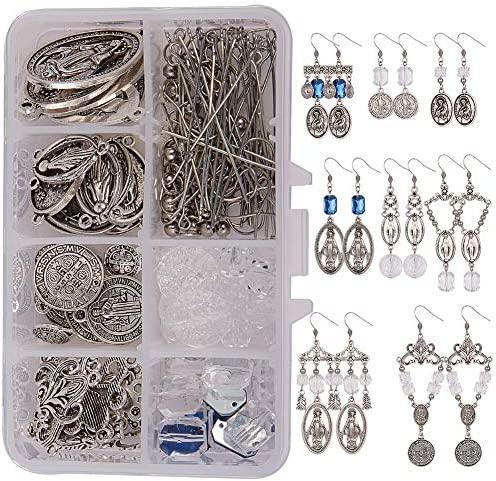 SUNNYCLUE 1 Box 8 Pairs DIY Chandelier Saint Benedict Miraculous Medal Dangle Earring Making product image