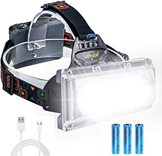 LETOUR LEDヘッドライト PSE認証 ヘッドランプ 3000LM 4点灯モード 高輝度 広角照明 防水IPX5 USB充電式 アウトドアライト 防災 作業 夜釣り キャンプ 登山 18650 蓄電池 2本付属