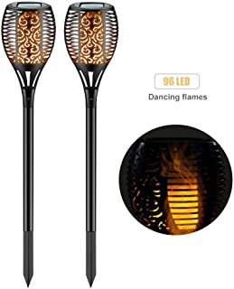 SolisFlamez Solar-Lights Flickering Flame Torch Outdoor-Garden Solar Powered Decorative Waterproof Light for Patio Walkway (2 Packs)