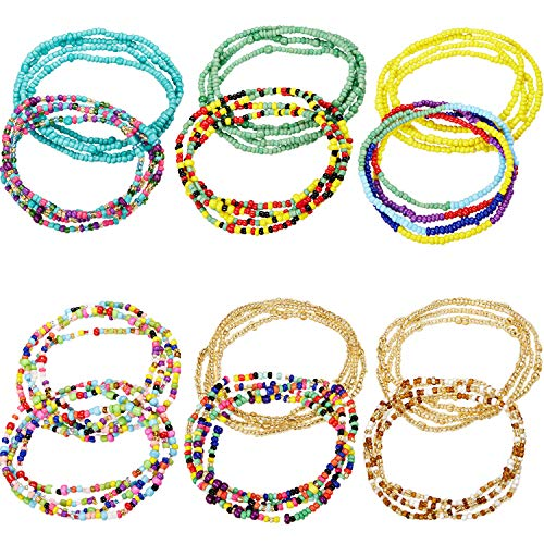 12 Pieces Elastic Waist Bead Chains Summer Body Chains Colorful Belly Beads African Bikini Jewelry Chains for Women and Girls
