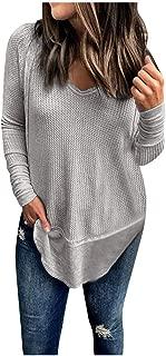 Womens Waffle Knit Tunic Blouse Henley Tops Loose Fitting Bat Wing Plain Shirts HebeTop