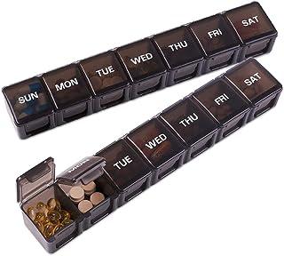 Asija Extra Large Pill Organizer 2 PCS, XL Weekly Pill Box, 7 Day Pill Case with Large Capacity, Jumbo Medi...