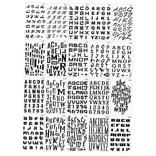 Harilla Plantillas de Plantillas de Letras Alfabeto Número Artesanía Plástica Arte Regla Dibujo Pintura