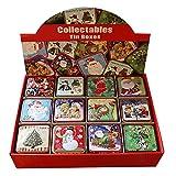 Discovery, scatola in latta, lotto da 12 pezzi, scatola regalo fatta a mano, scatola per biscotti, portagioie, contenitore portaoggetti di Natale