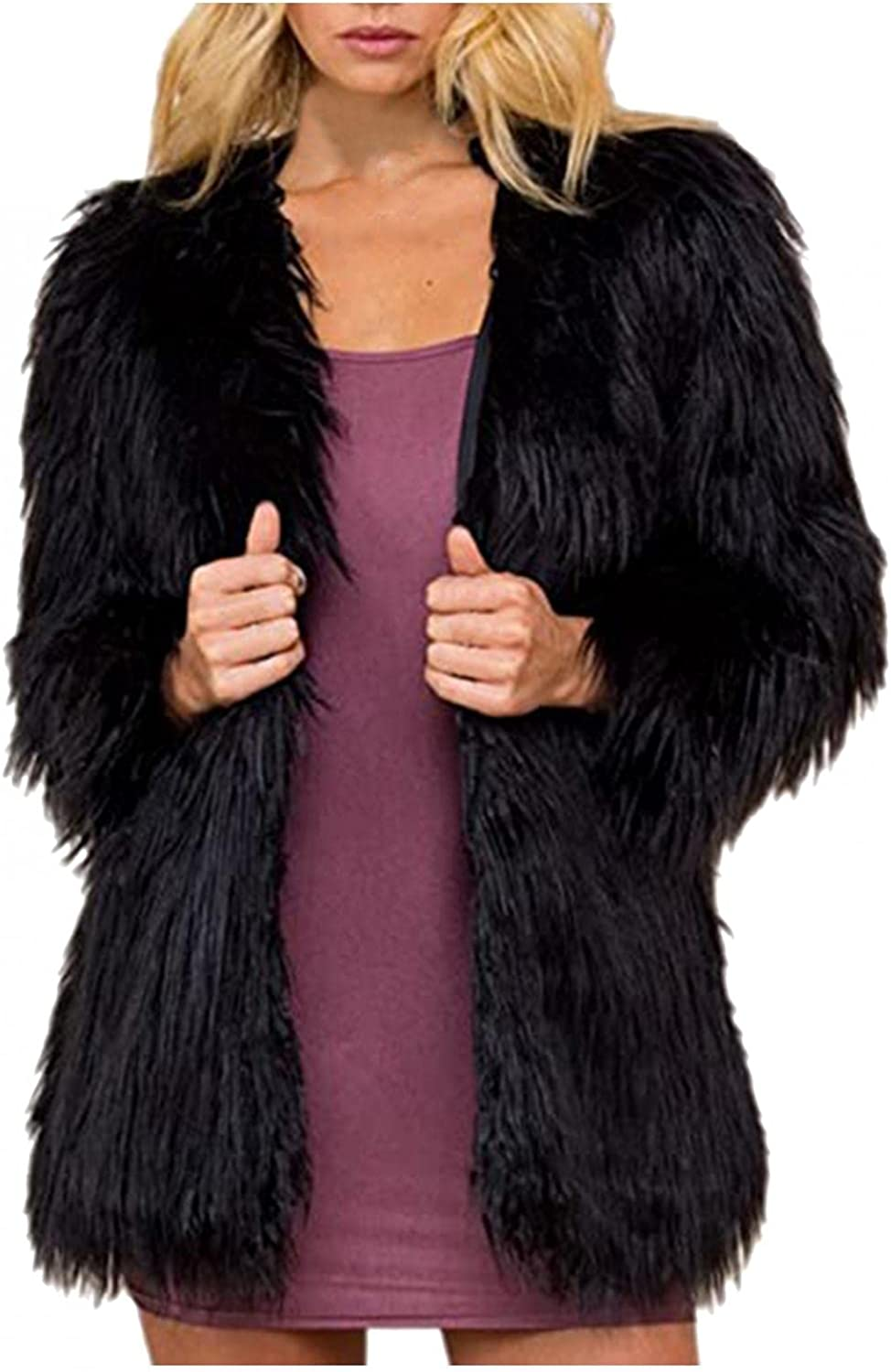 Smileyth Women Faux Fur Cardigan Coat Solid Color Long Sleeve Sh