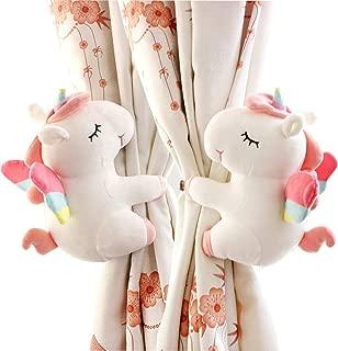 SHDZKJ 1Pair Unicorn Curtain Holdbacks Cartoon Animal Curtain Holder for Girls Kids Nursery Bedroom Window Decoration (White)