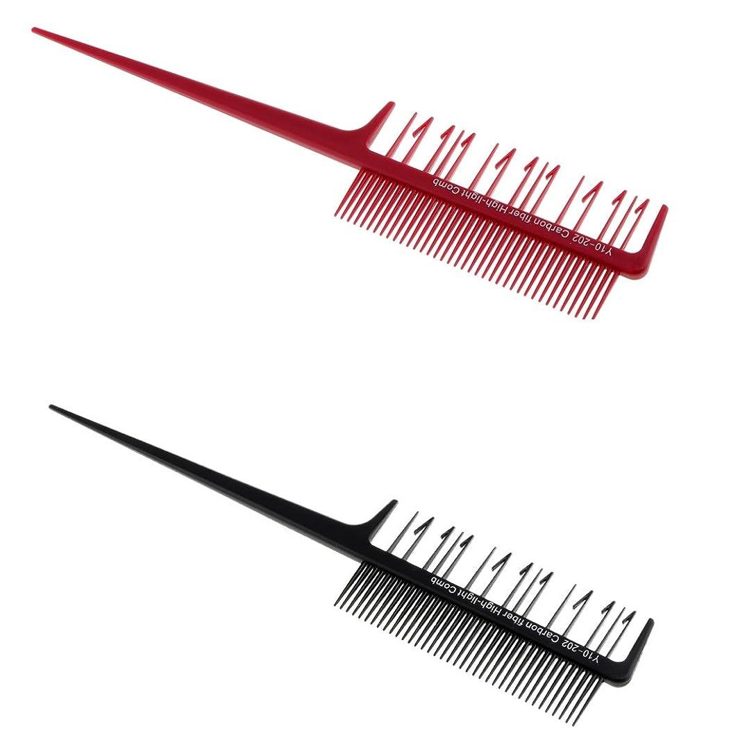 タック先のことを考える細断Perfk 2本 ヘアコーム 櫛 染色櫛 ダブルサイド ヘアブラシ ハイライト ヘアカラー 織り カッティングブラシ サロンツール