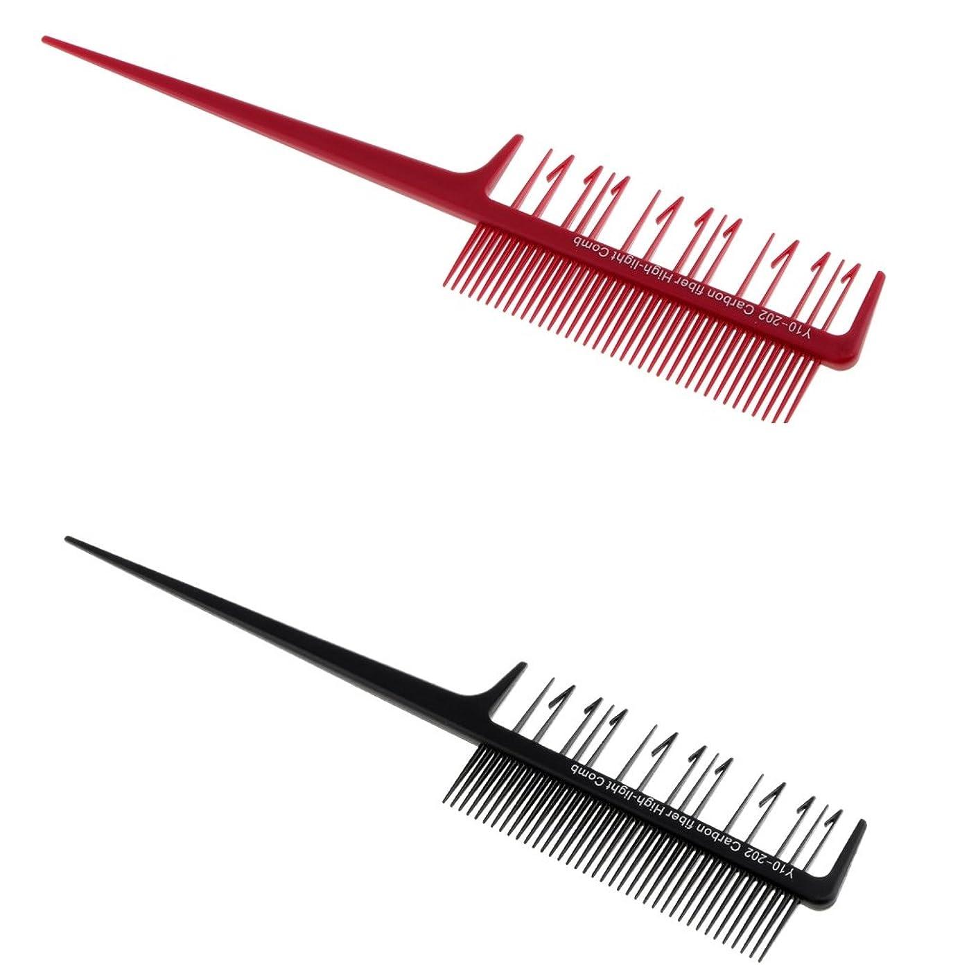 サスティーンに応じてきちんとしたKesoto 2本 ヘアコーム 櫛 染色櫛 ダブルサイド ヘアブラシ ハイライト ヘアカラー ヘアスタイリング 使いやすい 便利