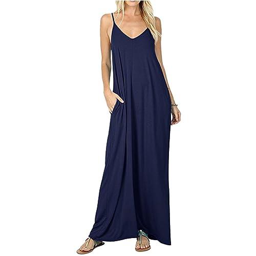 c0882c1252 Sunm boutique Women's Summer Casual Plain Flowy Pockets Loose Beach Cami  Maxi Dress