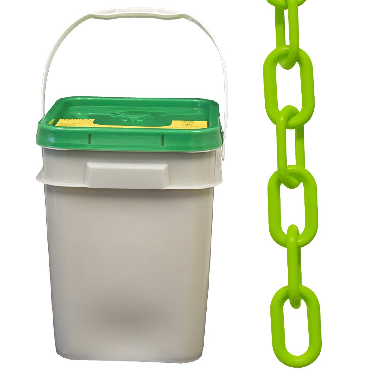 Mr. Chain Plastic Barrier Sale item Special price Pail Green 1.5-Inch Lin Safety
