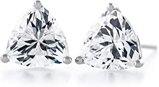 Acacia Collection Premium Quality Simulated Diamond CZ Martini 3 Prongs Sterling Silver Hypoallergenic Stud Earrings Trillion 3.00 Carat (ctw) Top Grade Cut 7x7mm Flat on Ear, Elegant, Sparkle!