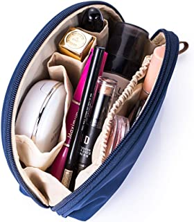 Hekyip Half Moon Cosmetic Bag, Travel Makeup Pouch, Portable Waterproof Cosmetic Pouch for Girls Women, Small (NAVY BLUE)
