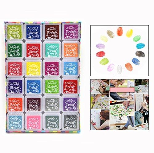 Itian Almohadilla de tinta - DIY Huellas Dactilares Craft Ink Pad Set, 24 Color/Set