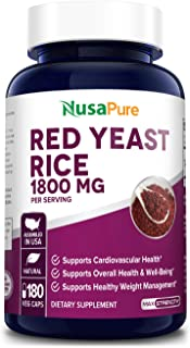 Red Yeast Rice 1800mg 180 Veggie Capsules (Non-GMO, Gluten Free) - Dietary Supplement Powder Pills to Support Cardiovascul...