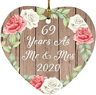 69th Anniversary 69 Years As Mr & Mrs 2020 - Heart Wood Ornament B Christmas Tree Hanging Decor - for Wife Husband GF BF W...