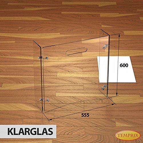 Stufa a Legna in vetro Parascintille Parascintille scintille protezione Griglia di sicurezza temprix | 600X 954X 6mm (L x A x P)