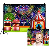 AOFOTO 8x6ft Fairground Circus Tent Backdrop Cartoon Amusement Park Ferris Wheel Fireworks Photography Background Playground Childhood Fun Carnival Party Decoration Studio Props Kid Vinyl Wallpaper