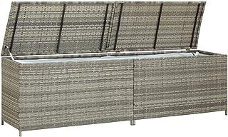 Festnight Caisse de Stockage de Jardin | Boîte de Rangement de Jardin Résine tressée 200x50x60 cm Gris