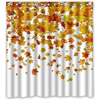 BMALL Fashion Shower Curtains - Romantic Autumn The Fall of Maple Leaves - Custom Personalized Bathroom Curtains Waterproof Polyester Fabric