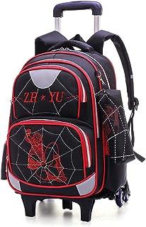Mochila con Carrito de 6 Ruedas para niños Spiderman Impermeable Reflectante con diseño de Seguridad Mochila Desmontable para niños